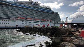 Cruise Ship in Caribbean port stock footage