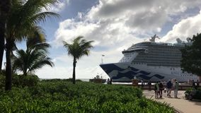Cruise Ship in Caribbean port stock video footage