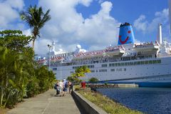 Cruise ship in Castries, St Lucia,  Caribbean Royalty Free Stock Images