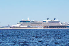 Cruise ship Celebrity Eclipse at a quay of the Maritime passenger port the Marine Facade, St.-Petersburg Stock Images