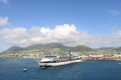 Cruise ship Celebrity Summit. In the port of Basseterre, St. Kitts and Nevis. Celebrity Summit is a Millennium-class cruise ship of Celebrity Cruises and it has stock image