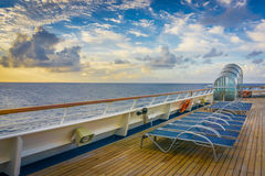 Cruise Ship Chairs. Row of chairs on the deck of a cruise ship Stock Images