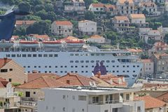 Cruise Ship in City stock images