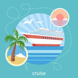 Cruise ship and clear blue water. Water tourism Stock Images