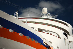 Cruise ship close up. Close up details of bridge and side of cruise ship Stock Photos