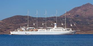 Cruise ship Club Med 2. Anchored in Milos island bay, Greece on August 18, 2015 royalty free stock images