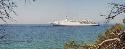 Cruise ship Club Med 2 anchored in Rab/Croatia – July 30, 2018. Cruise sailing ship Club Med 2 anchored closed to Rab Island in Adriatic sea royalty free stock image