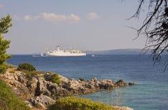 Cruise ship Club Med 2 close to Rab island /Croatia – July 30, 2018. Cruise sailing ship Club Med 2 anchored closed to Rab Island in Adriatic sea stock photo