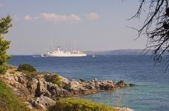 Cruise ship Club Med 2 close to Rab island /Croatia – July 30, 2018 stock photo