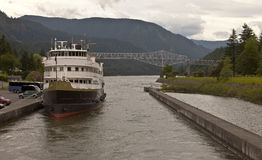 Cruise ship in the Columbia River Gorge Oregon. Royalty Free Stock Photography