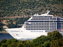 Cruise ship coming into Dubrovnic in Croatia Stock Photo