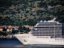 Cruise ship coming into Dubrovnic in Croatia Royalty Free Stock Photos
