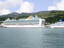 Cruise ship coming into Dubrovnic in Croatia Stock Image
