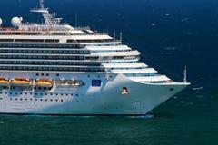 Cruise Ship. Company Costa traveling to the sea Stock Photos