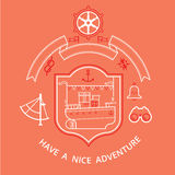 Cruise ship composition. Composition with a cruise ship house and other marine symbols, motivating text for a traveler vector illustration