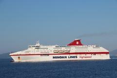 Cruise ship in Corfu Stock Images