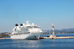 Cruise ship in Corfu-Town port Royalty Free Stock Photos
