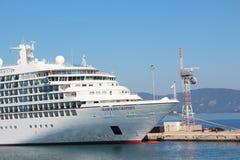 Cruise ship in Corfu-Town port Stock Photography