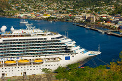 The cruise ship costa magica calling at kingstown port in the windward islands. A large passenger liner alongside a wharf in the west indies Royalty Free Stock Photos