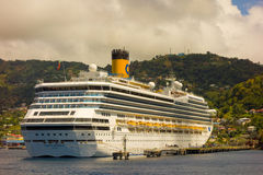 The cruise ship costa magica calling at kingstown port in the windward islands Royalty Free Stock Photo
