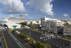 Cruise ship Costa Magica docked in the port of Pointe-a-Pitre. Pointe-a-Pitre, Guadeloupe - January 03, 2016: Cruise ship Costa Magica docked in the port of Stock Photos