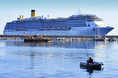 Cruise ship Costa Mediterranea in Alanya harbor, Turkey Royalty Free Stock Photo