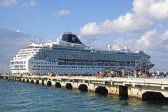 Cruise ship in Cozumel, Mexico, Caribbean Stock Images