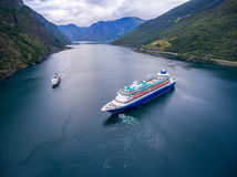 Cruise Ship, Cruise Liners On Sognefjord or Sognefjorden, Norway Royalty Free Stock Images