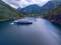 Cruise Ship, Cruise Liners On Sognefjord or Sognefjorden, Norway Stock Photo