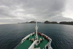 Cruise ship cruising to Deception Island, Antarctica Stock Photography