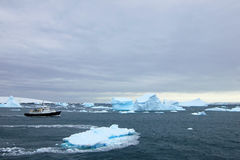 Cruise ship crusing around ice floes in Antarctic waters Royalty Free Stock Images