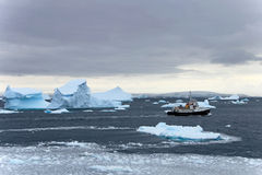 Cruise ship crusing around ice floes in Antarctic waters Royalty Free Stock Photo