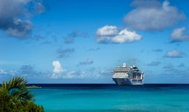 Cruise ship in crystal blue water. With blue sky Stock Photography