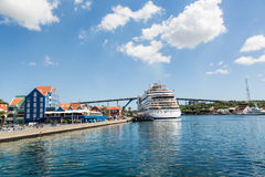 Cruise Ship by Curacao Resort Stock Photo