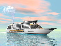 Cruise ship - 3D render Royalty Free Stock Photo