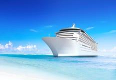 Cruise ship. 3D Cruise ship at tropical beach Royalty Free Stock Photo
