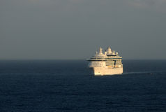 Cruise ship at dawn. Modern white ocean liner in early morning Stock Photo