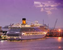 Cruise ship at dawn. Ocean liners arriving in Fort Lauderdale before dawn Royalty Free Stock Photography