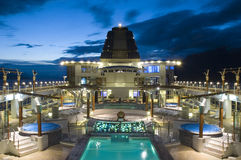 Cruise Ship Deck. Cruise ship top deck during dusk Royalty Free Stock Photography