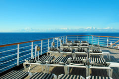 Cruise Ship Deck. Deck of a cruise ship with rows of launge chairs stock image
