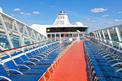 Cruise ship deck. And empty chairs royalty free stock photography