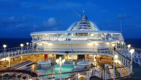 Cruise ship deck. Night view of cruise ship pool deck Royalty Free Stock Photography