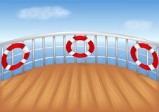 Cruise ship deck. And blue sea vector illustration royalty free illustration