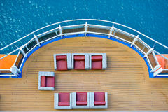 Cruise ship deck. With blue water in background royalty free stock images