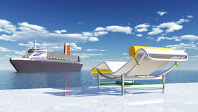 Cruise ship and deck chair Stock Photo