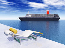 Cruise ship and deck chair Royalty Free Stock Images