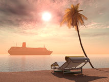 Cruise ship, deck chair and palm tree Royalty Free Stock Photography