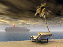 Cruise ship, deck chair and palm tree Stock Photos