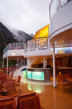 Cruise ship deck. On cloudy day. Mast Bar restaurant stock photography