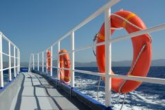 Cruise ship deck. Horizon view from empty cruise ship deck on a sunny day royalty free stock images